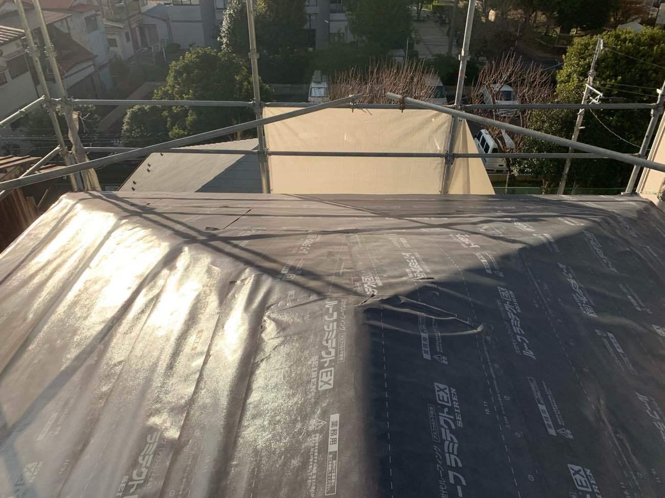 屋根下地 ルーフィング貼り(ルーフラミテクト)